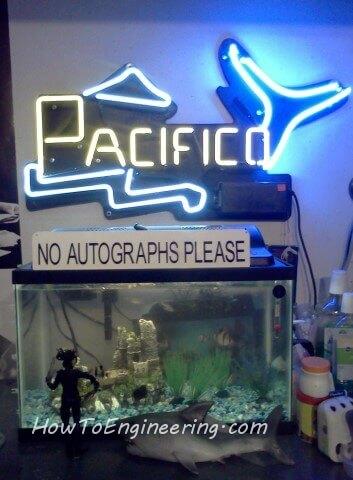 DIY neon sign above fish tank