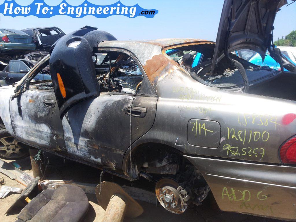 Burned up car exterrior