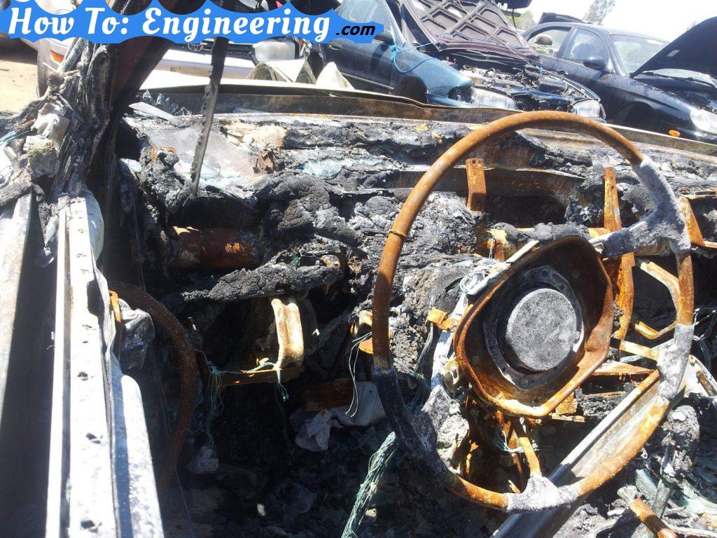 Melted steering wheel