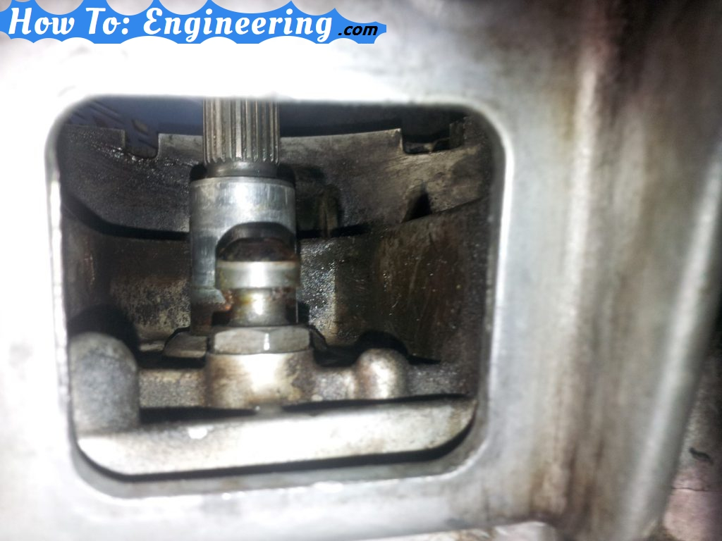 View inside shift fork hole into transmission