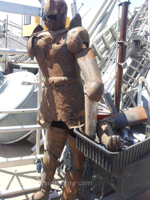 suit of armor at the scrap yard