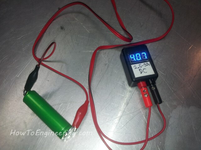 mini dc power meter checking 18650 battery