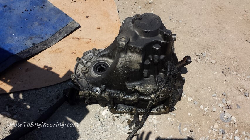 greasy transmission after being pulled at junk yard