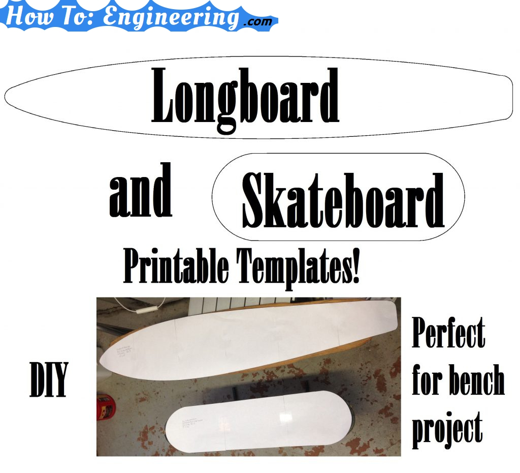 image about Longboard Template Printable called Longboard/Skateboard Printable Templates!