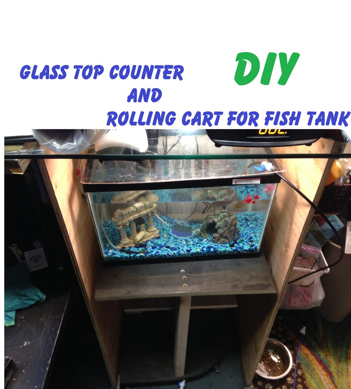 Glass top counter and rolling cart for fish tank stand