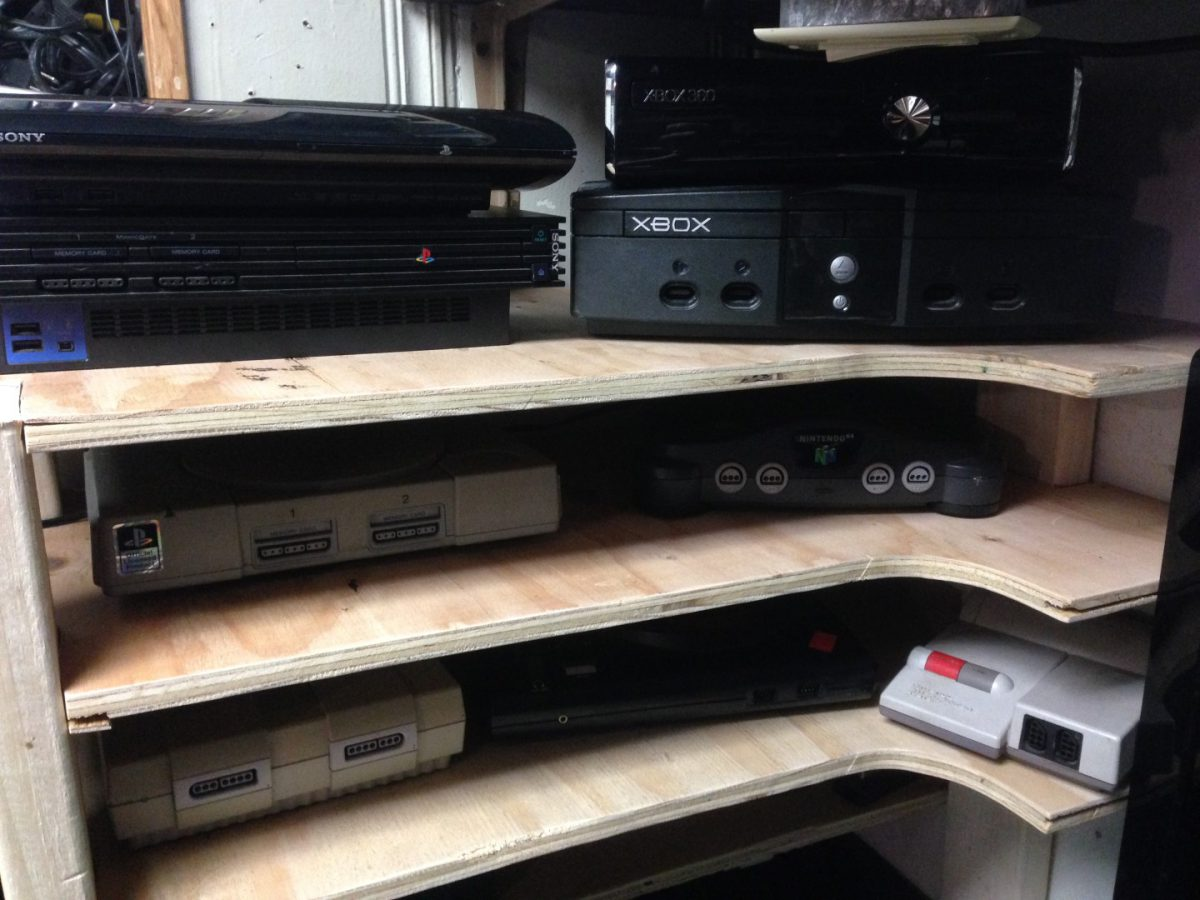 DIY Video Game Console Shelf
