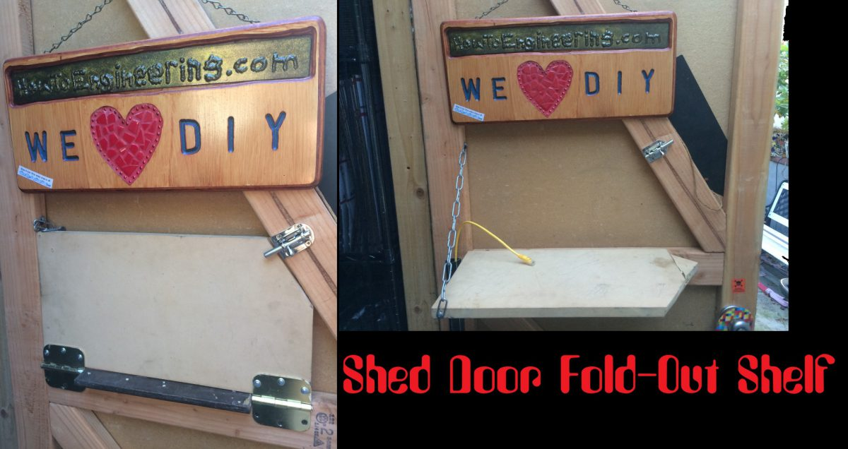 Shed Door Mounted Folding Shelf